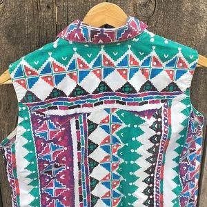 Vintage Tops - Vintage Roughrider 90s Sleeveless Western Shirt
